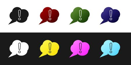 Set Speech bubble and Exclamation icon isolated on black and white background. FAQ sign. Copy files, chat speech bubble and chart. Vector Illustration Ilustração