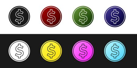 Set Coin money with dollar symbol icon isolated on black and white background. Banking currency sign. Cash symbol. Vector Illustration