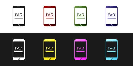 Set Mobile phone with text FAQ information icon isolated on black and white background. Frequently asked questions. Vector Illustration Ilustração