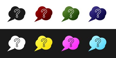 Set Speech bubble and Question icon isolated on black and white background. FAQ sign. Copy files, chat speech bubble and chart. Vector Illustration