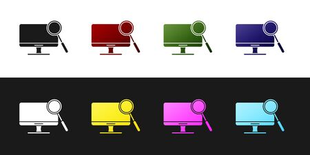 Set Computer monitor diagnostics icon isolated on black and white background. Adjusting app, service, setting options, maintenance, repair. Vector Illustration