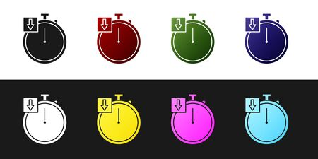 Set Stopwatch icon isolated on black and white background. Time timer sign. Chronometer. Vector Illustration