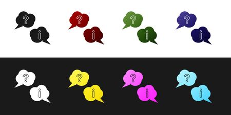 Set Speech bubbles with Question and Exclamation icon isolated on black and white background. FAQ sign. Copy files, chat speech bubble and chart. Vector Illustration Ilustração