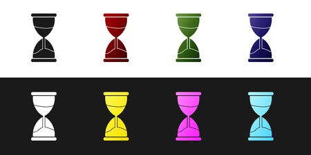 Set Old hourglass with flowing sand icon isolated on black and white background. Sand clock sign. Business and time management concept. Vector Illustration