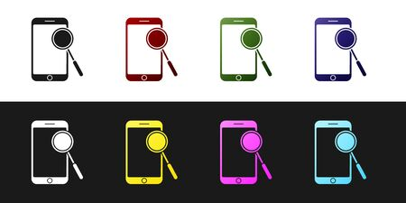 Set Mobile phone diagnostics icon isolated on black and white background. Adjusting app, service, setting options, maintenance, repair, fixing. Vector Illustration