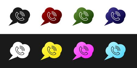 Set Speech bubble with phone call icon isolated on black and white background. Vector Illustration Illusztráció