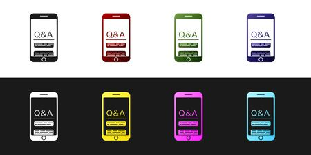 Set Mobile phone with Question and Exclamation icon isolated on black and white background. Frequently asked questions. Vector Illustration