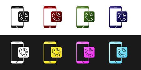 Set Mobile phone call icon isolated on black and white background. Vector Illustration Illusztráció
