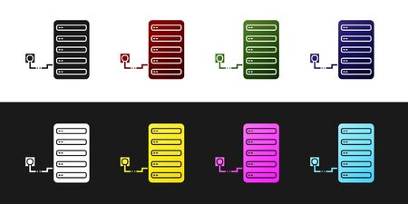 Set Server icon isolated on black and white background. Adjusting app, service concept, setting options, maintenance, repair, fixing. Vector Illustration