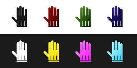 Set Leather glove icon isolated on black and white background. Vector Illustration