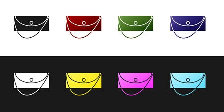Set Clutch bag icon isolated on black and white background. Women clutch purse. Vector Illustration