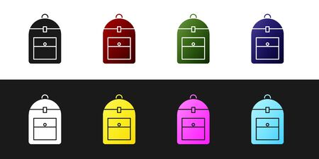 Set Backpack icon isolated on black and white background. Vector Illustration