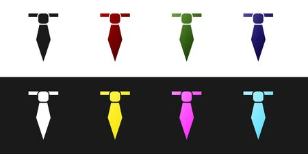 Set Tie icon isolated on black and white background. Necktie and neckcloth symbol. Vector Illustration
