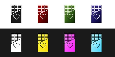 Set Chocolate bar icon isolated on black and white background. Valentines day symbol. Vector Illustration