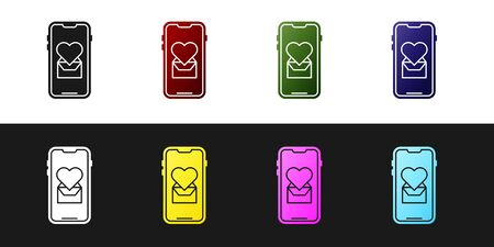 Set Mobile phone with heart icon isolated on black and white background. Valentines day. Vector Illustration