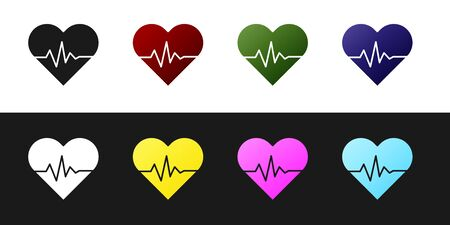 Set Heart rate icon isolated on black and white background. Heartbeat sign. Heart pulse icon. Cardiogram icon. Vector Illustration