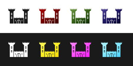 Set Castle icon isolated on black and white background. Fortress sign. Vector Illustration