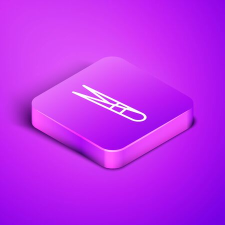 Isometric line Eyebrow tweezers icon isolated on purple background. Cosmetic tweezers for ingrown hair. Purple square button. Vector Illustration