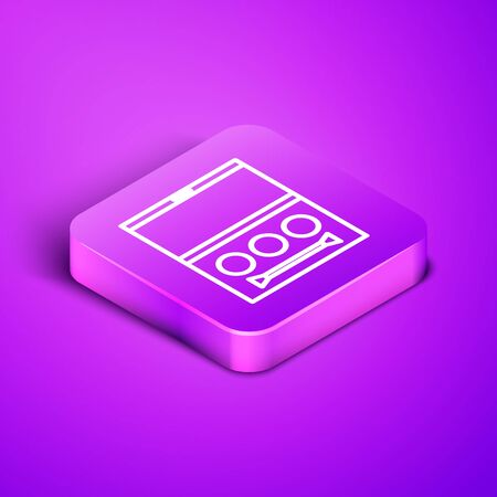 Isometric line Eye shadow palette with brush icon isolated on purple background. Purple square button. Vector Illustration