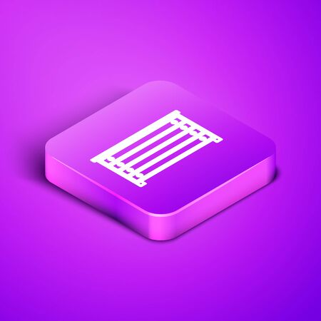Isometric line Chest of drawers icon isolated on purple background. Purple square button. Vector Illustration