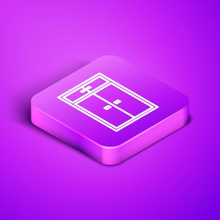 Isometric line Wardrobe icon isolated on purple background. Purple square button. Vector Illustration Ilustrace