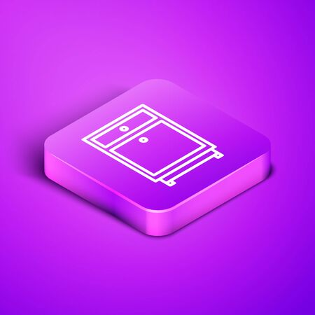 Isometric line Furniture nightstand icon isolated on purple background. Purple square button. Vector Illustration
