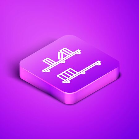 Isometric line Shelf with books icon isolated on purple background. Shelves sign. Purple square button. Vector Illustration