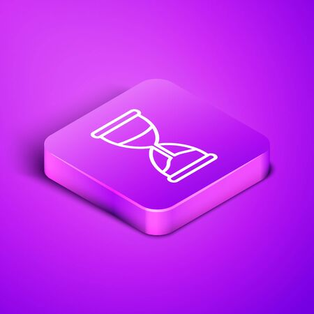Isometric line Old hourglass with flowing sand icon isolated on purple background. Sand clock sign. Business and time management concept. Purple square button. Vector Illustration 向量圖像