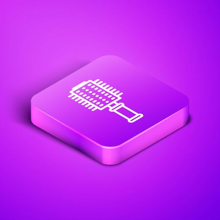 Isometric line Hairbrush icon isolated on purple background. Comb hair sign. Barber symbol. Purple square button. Vector Illustration Ilustracja