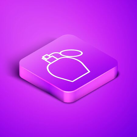 Isometric line Perfume icon isolated on purple background. Purple square button. Vector Illustration