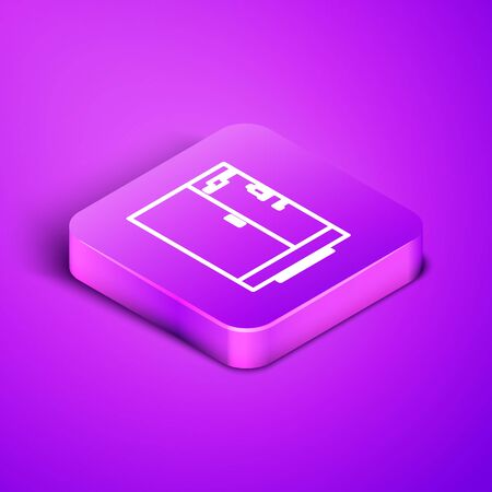Isometric line Shower cabin icon isolated on purple background. Purple square button. Vector Illustration