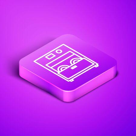 Isometric line Kitchen dishwasher machine icon isolated on purple background. Purple square button. Vector Illustration Illustration
