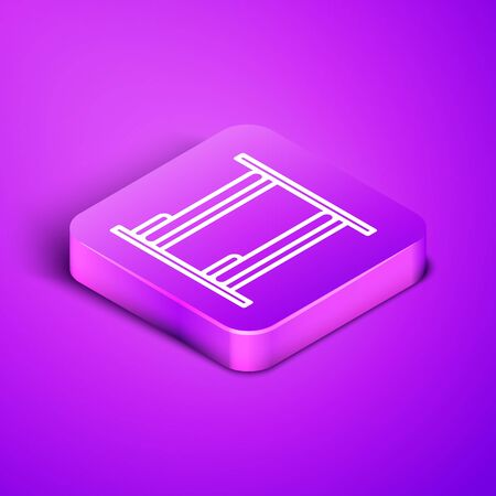 Isometric line Bunk bed icon isolated on purple background. Purple square button. Vector Illustration