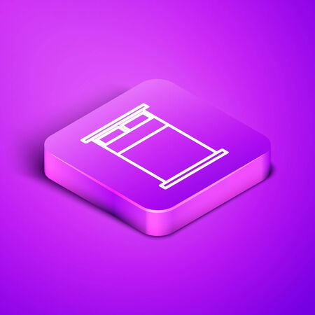 Isometric line Big bed for two or one person icon isolated on purple background. Purple square button. Vector Illustration