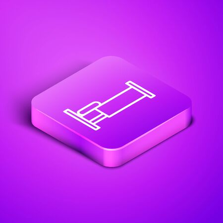 Isometric line Bed icon isolated on purple background. Purple square button. Vector Illustration