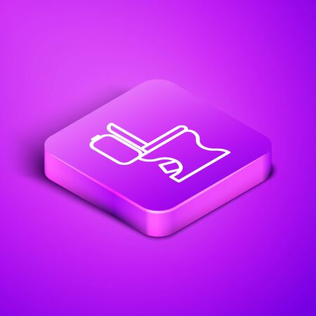 Isometric line Toilet bowl icon isolated on purple background. Purple square button. Vector Illustration