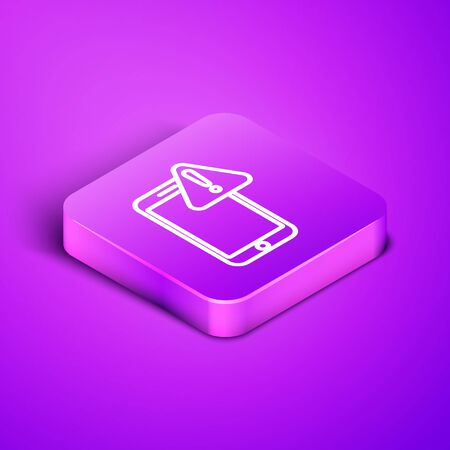 Isometric line Mobile phone with exclamation mark icon isolated on purple background. Alert message smartphone notification. Purple square button. Vector Illustration Illusztráció