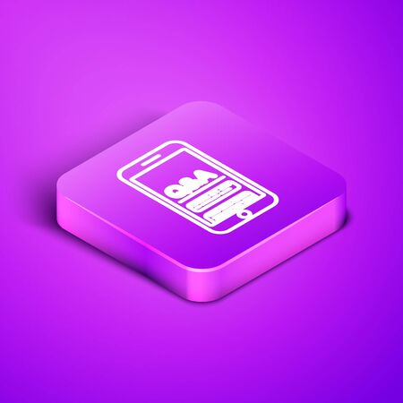 Isometric line Mobile phone with Question and Exclamation icon isolated on purple background. Frequently asked questions. Purple square button. Vector Illustration