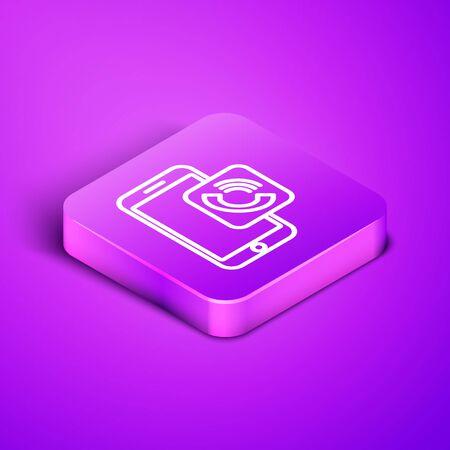 Isometric line Mobile phone call icon isolated on purple background. Purple square button. Vector Illustration Illusztráció