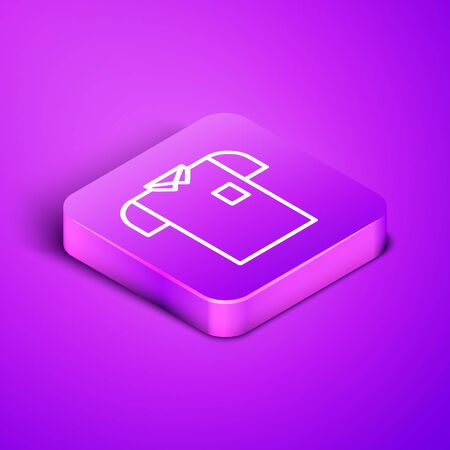 Isometric line Polo shirt icon isolated on purple background. Purple square button. Vector Illustration Vectores