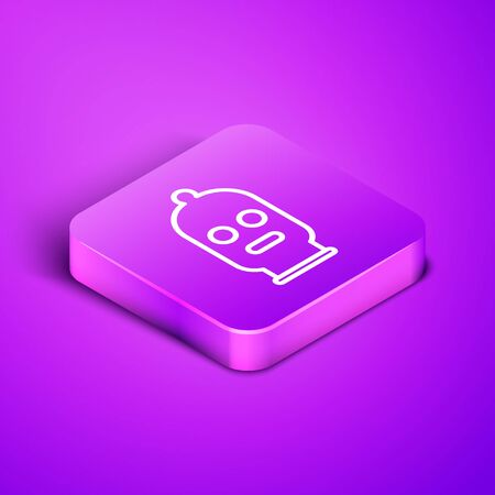 Isometric line Balaclava icon isolated on purple background. A piece of clothing for winter sports or a mask for a criminal or a thief. Purple square button. Vector Illustration