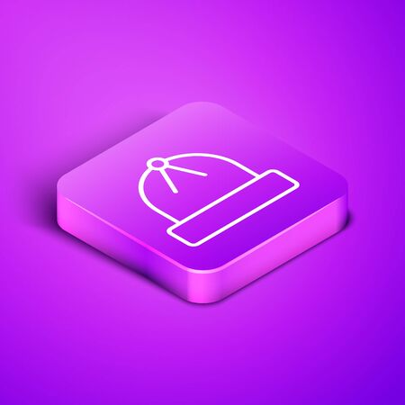 Isometric line Winter hat icon isolated on purple background. Purple square button. Vector Illustration