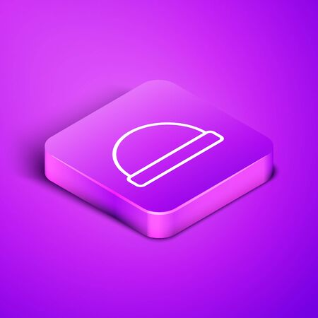 Isometric line Beanie hat icon isolated on purple background. Purple square button. Vector Illustration