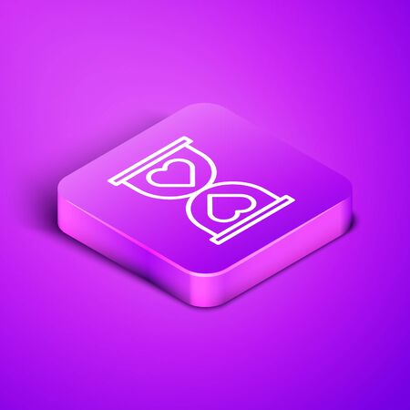 Isometric line Heart in the center old hourglass icon isolated on purple background. Valentines day. Purple square button. Vector Illustration 向量圖像