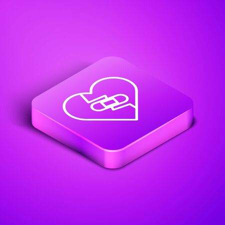 Isometric line Healed broken heart or divorce icon isolated on purple background. Shattered and patched heart. Love symbol. Valentines day. Purple square button. Vector Illustration