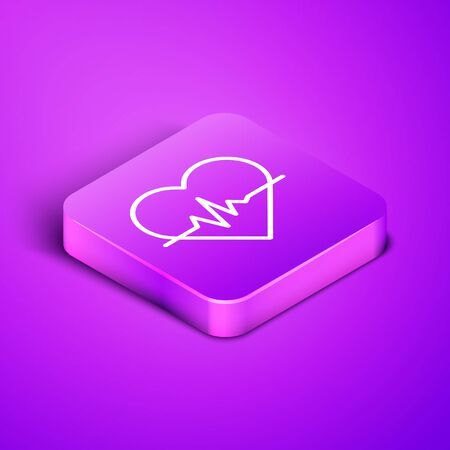Isometric line Heart rate icon isolated on purple background. Heartbeat sign. Heart pulse icon. Cardiogram icon. Purple square button. Vector Illustration