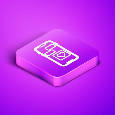 Isometric line Mobile phone with heart icon isolated on purple background. Valentines day. Purple square button. Vector Illustration