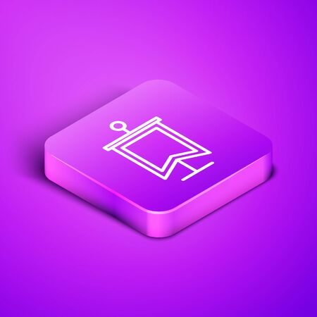 Isometric line Medieval flag icon isolated on purple background. Country, state, or territory ruled by a king or queen. Purple square button. Vector Illustration