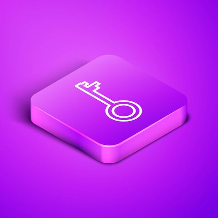 Isometric line Old key icon isolated on purple background. Purple square button. Vector Illustration