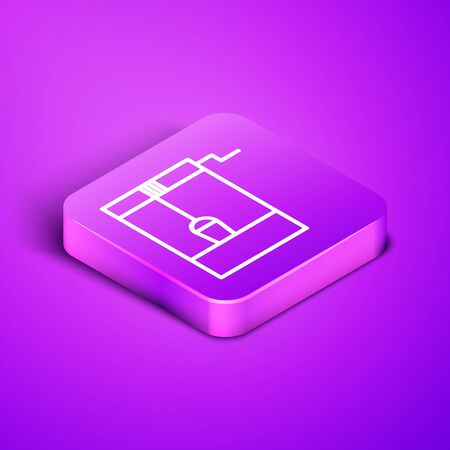 Isometric line Well with a bucket and drinking water icon isolated on purple background. Purple square button. Vector Illustration
